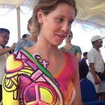 Salah seorang model asal Jerman dalam kompetisi Body Painting di Nusa Dua Fiesta 2015