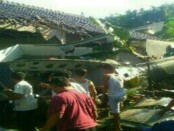 Helikopter jenis Bell 205 Skadron 11/serbu Puspenerbad No. Reg. HA-507 yang jatuh di Kalasan, Sleman, Yogyakarta - foto: istimewa