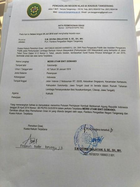 Surat permohonan grasi terpidana mati Merri Utami yang dibuat di PN Tangerang - foto: Istimewa