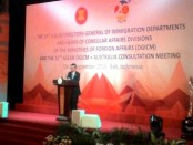 Gubernur Bali, I Made Mangku Pastika di acara Forum ke-20 Divisi Urusan Konsuler Kementerian Urusan Luar Negeri Negara Asean, Rabu, 21 September 2016 - foto: Istimewa