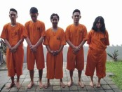 Lima orang tersangka pengguna dan pengecer narkoba jenis tembakau Gorila dan sabu-sabu. Mereka ditangkap oleh tim pemburu kejahatan narkoba Polresta Denpasar - foto: Istimewa