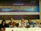 Diskusi publik 'Merumuskan Regulasi Transportasi Online Paska Putusan MA', di Sanur Paradise Plaza, Sanur-Bali, Sabtu siang (28/10/2017) - foto: Ari Wulandari/Koranjuri.com