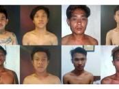 8 pelaku begal yang diamankan polsek Denpasar Barat - foto: Istimewa