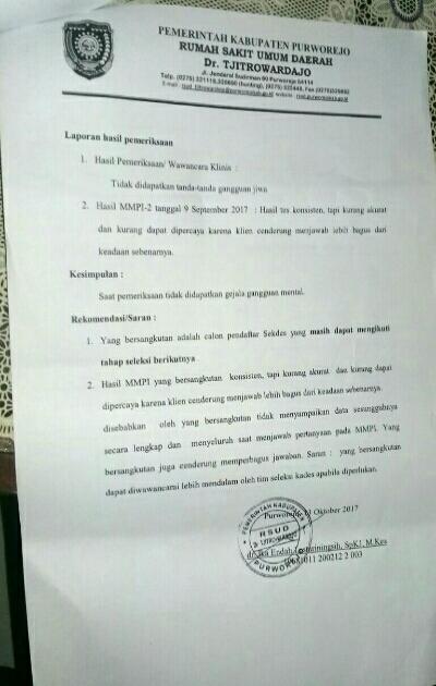 Surat keterangan/kesimpulan test MMPI Heruwati dari RSUD Tjitrowardojo - foto: Sujono/Koranjuri.com