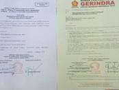 Surat dukungan partai Gerindra kepada Paket Lontar, Bima Fangidae dan Ernes Pella di Pilkada Rote Ndao - foto: Istimewa
