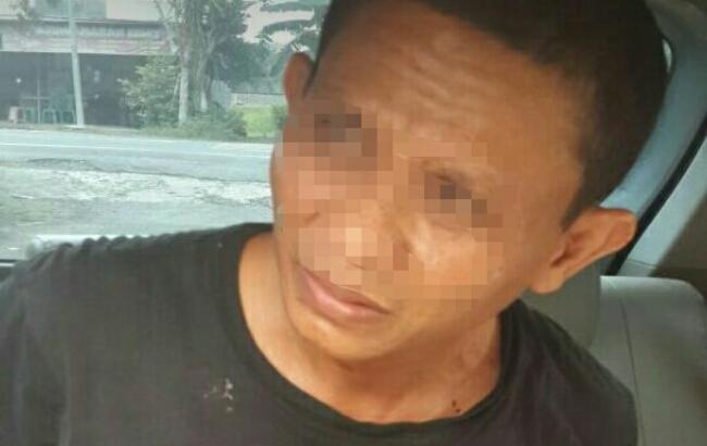 Asiman, pelaku yang diduga kuat sebagai pelaku pembunuhan Sri Iswanti, pemandu karaoke yang ditemukan tewas dalam sumur di Glagah, Temon, Kulonprogo, Kamis (11/1)