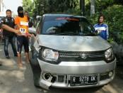 Polsek Tambora Polres Metro Jakarta Barat  melakukan gelar rekontruksi kasus pembunuhan dengan modus tabrak lari di Jalan Kopi Jakarta Barat - foto: Isyimewa