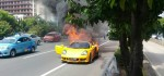 Mobil Porsche Terbakar di Tol