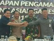 Kapolri Jenderal Polisi Tito Karnavian dan Panglima TNI Marsekal Hadi Tjahjanto menggelar rapat staf kesiapan pengamanan Closing Ceremony Asian Games XVIII tahun 2018, dengan jumlah pengamanan personel sebanyak 9.422 - foto: Bob/Koranjuri.com