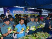 Barang bukti 67,4 kg sabu-sabu diamankan di Lantamal I Belawan dan dilakukan penghitungan bersama BNN Provinsi Sumut - foto: Istimewa