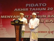 Gubernur Koster didampingi Wakil Gubernur Bali, Tjokorda Oka Artha Ardhana Sukawati (Cok Ace) saat menyampaikan Pidato Akhir Tahun 2018, di Gedung Ksiarnawa, Taman Budaya Bali, Denpasar, Senin (31/12/2018) - Istimewa