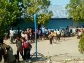 Suasana kepanikan di sekolah yang ada di Mataram, NTB saat gempa Magnitudo 5,3 mengguncang Mataram - foto: Screenshot