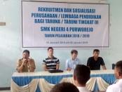 Kegiatan sosialisasi dan rekruitmen tenaga kerja dari perusahaan/lembaga pendidikan di SMK N 4 Purworejo, dari Senin (21/1) hingga Jum'at (25/1) - foto: Sujono/Koranjuri.com