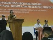 Bambang Sutrisno, anggota Komisi X DPR RI, dalam FGD (Forum Grup Diskusi), hasil kerja sama antara Komisi X DPR RI, dengan Deputi Bidang Pengembangan Infrastruktur dan Ekosistem Kementerian Pariwisata, Kamis (21/3), di Plaza Ballroom, Purworejo - foto: Sujono/Koranjuri.com