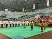 Tetabuhan Seni Tingklik Sandhi Suara Brerong dari Dusun Tangimyeh, Desa Brangbang, Jembrana menyemangati para atlet silat Perisai Diri dari berbagai kota/kabupaten se-Bali, Jumat, 26 April 2019 - foto: Istimewa