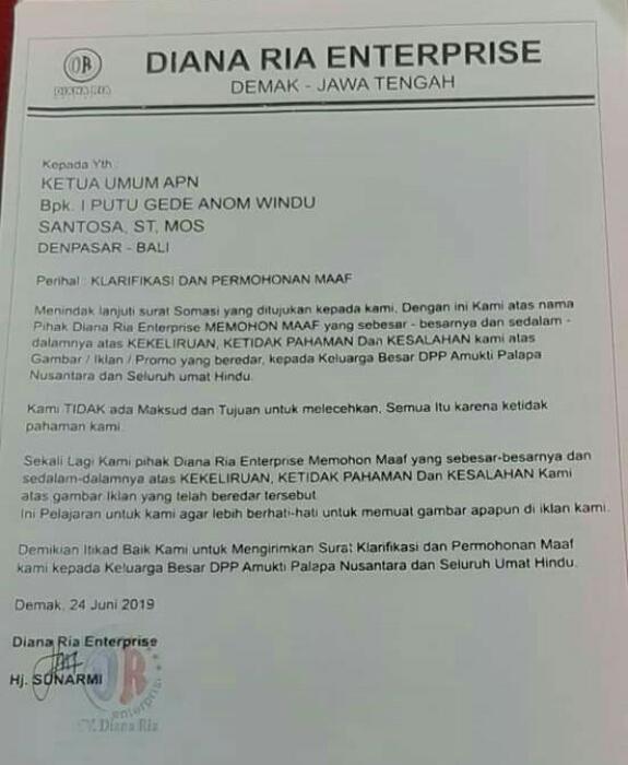 Surat klarifikasi dan permohonan maaf yang disampaikan Diana Ria Enterprise atas somasi yang dilayangkan Organisasi Amukti Palapa Nusantara (APN) terkait indikasi dugaan pelecehan simbol agama dalam poster Via Vallen saat konser di Kutoarjo, Purworejo, Jawa Tengah pada 23 Juni 2019 - foto: Istimewa