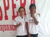 Keterangan foto : Mariyo ( kanan ) bersama Isa Ansyori, jajaran pengurus DPD Pospera Jateng jelang keberangkatanya ke Jakarta. /foto: istimewa