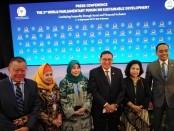 Sesi konferensi pers pada penutupan World Parliamentary Forum on Sustainable Development (WPFSD) ke-3 yang digelar di Kuta, Bali 4-5 September 2019 - foto: Koranjuri.com