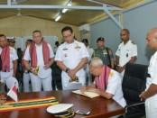 Satuan Tugas (Satgas) Port Visit Indonesia Maritim Envoy 19B melaksanakan kunjungan resmi ke Componente Da Força Naval Ligeria sebutan Angkatan Laut Timor Leste yang berada di Hera Timor Leste - foto: Istimewa