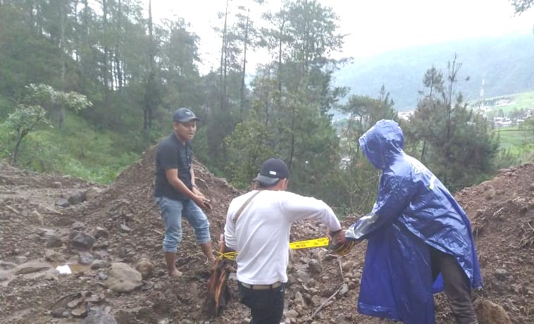Keterangan foto: Kawasan tempat perusakan pohon di beri garis police line