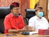 Gubernur menggelar pertemuan bersama Walikota Denpasar Ida Bagus Rai Dharmawijaya Mantra dan Wakil Walikota I Gusti Ngurah Jaya Negara di Gedung Gajah, Jayasabha, Denpasar, Kamis (11/6/2020) - foto: Istimewa