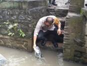 Kapolres Gianyar, AKBP I Dewa Made Adnyana saat menebar bibit ikan di aliran sungai Bangun Liman, Buruan, Blahbatuh Gianyar, Minggu, (21/6/2020) - foto: Catur/Koranjuri.com