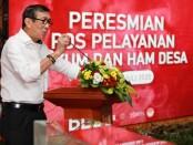 Menteri Hukum dan HAM Republik Indonesia, Yasonna H. Laoly saat meresmikan 121 Posyanduhamded di Kantor Bupati Gianyar, Selasa (21/7/2020) - foto: Catur/Koranjuri.com