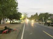 Lokasi kecelakaan maut di jalan Daendels, tepatnya di sebelah barat kantor KUA Ketawang, ikut Desa Ketawang, Grabag, Purworejo, Jum'at (24/07/2020) sore, sekitar jam 16.15 WIB - foto: Sujono/Koranjuri.com