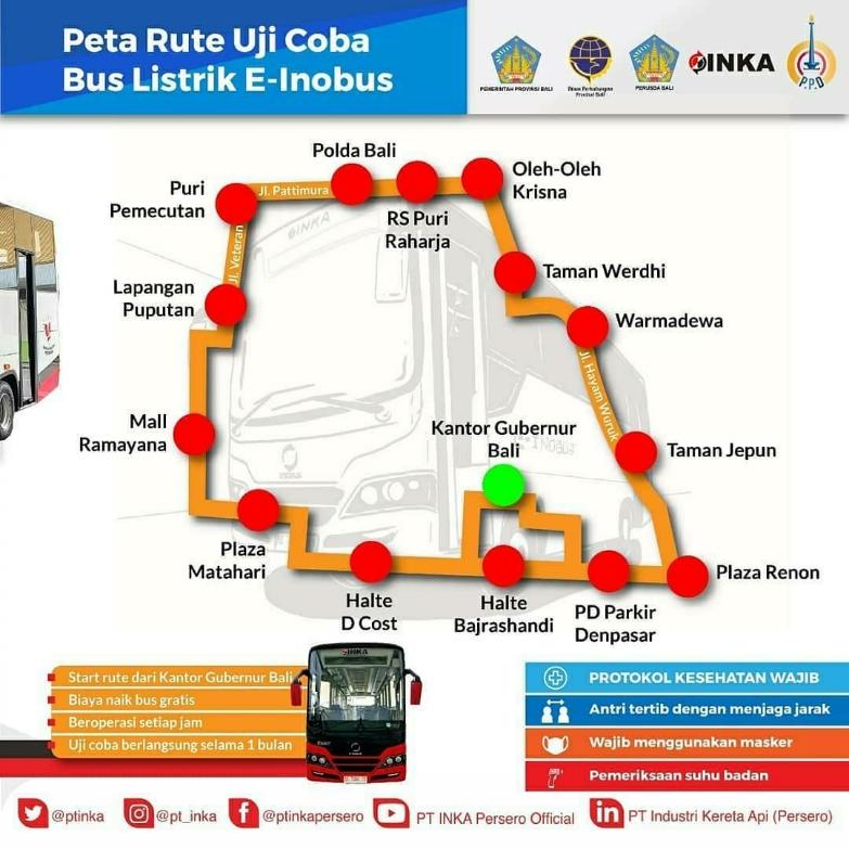 Peta rute uji coba bus listrik E-Inobus