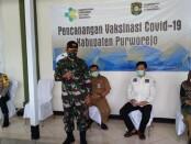 Jajaran Forkopimda Kabupaten Purworejo memberikan testimoni usai menjalani vaksinasi Covid-19, Senin (25/01/2021), di RSUD Dr Tjitrowardojo - foto: Sujono/Koranjuri.com