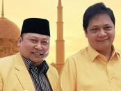 Keterangan gambar : Wasekjen Partai Golkar ,Dr.H.R.Andi Budi Sulistijanto SH,M.Ikom ( Kiri ) dan Ketua Umum DPP Partai Golkar, Ir. Airlangga Hartarto ( kanan ). /Foto : Istimewa