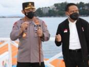 Kapolri Jenderal Listyo Sigit Prabowo meninjau venue tenis, sepak bola dan selam pada Pekan Olahraga Nasional (PON) ke-XX di Papua, Kamis (30/9/2021) - foto: Istimewa