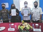 Penandatanganan MoU antara Institut Komunikasi & Bisnis LSPR Bali dan SMSI Provinsi Bali, Jumat, 3 September 2021 - foto: Koranjuri.com