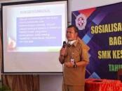 Kepala SMK Kesehatan Purworejo, Nuryadin, S.Sos, M.Pd, saat menyampaikan sosialisasi program sekolah, Senin (27/09/2021) - foto: Sujono/Koranjuri.com