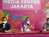 Direktur Prasarana Strategis Direktorat Jenderal Cipta Karya Kementerian PUPR Iwan Suprijanto menggelar keterangan pers di Media Center Jakarta untuk PON 2021, Rabu, 13 Oktober 2021 - foto: Istimewa