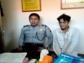Eko Wahyudi, pelaku pencurian tas milik penyanyi, yang kini ditahan di Mapolsek Grabag - foto: Sujono/Koranjuri.com