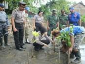 Penanaman pohon mangrove di Pantai Logending oleh Polres Kebumen, meriahkan peringatan Hari Kartini, Jum'at (21/4) - foto: Sujono/Koranjuri.com