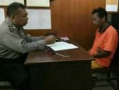Pelaku M ketika diminta keterangan di Polsek Kota Negara - foto: Istimewa