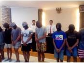 9 remaja pelaku begal yang diamankan Tim Opsnal Polsek Denpasar Selatan. Aksi mereka tak segan-segan melukai korbannya - foto: Istimewa