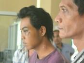 MS, satu pelaku pencuri burung polisi, kini ditahan di Mapolsek Gebang - foto: Sujono/Koranjuri.com