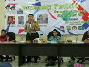 Pengurus Cabang Pergerakan Mahasiswa Islam Indonesia (PC-PMII) Kota Bekasi yang bekerjasama dengan KPUD Kota Bekasi dan Panwaslu Kota Bekasi menggelar kegiatan bincang politik dengan tema 'Mencegah Isu SARA Menjelang Pilkada Serentak 2018' - foto: Bob/Koranjuri.com