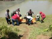 Proses evakuasi korban Dedi, yang tewas disambar KA Fajar Utama, Sabtu (10/2) pagi, di rel kereta api km 465,8 Desa Tersobo, Kecamatan  Prembun, Kebumen - foto: Sujono/Koranjuri.com