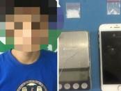 Pelaku LC (20) yang ditangkap karena memiliki sabu-sabu. Narkoba itu didapat dari ibu kandungnya yang jadi DPO - foto: Bob/Koranjuri.com