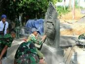 Pembuatan tugu peringatan TMMD Ke-101 di Desa Pangsan, Kecamatan Petang, Kabupaten Badung - foto: Istimewa