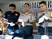 Polres Tangerang Kota menggelar pers rilis terkait pencurian laptop untuk UNBK di sebuah sekolah SMP - foto: Bob/Koranjuri.com