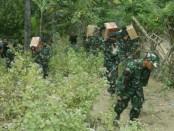 Di Kecamatan Gangga, Kayangan maupun Pemenang di Kabupaten Lombok Utara, anggota TNI masuk dengan sepeda motor, bahkan memanggul logistik sambil berjalan kaki untuk mendistribusikan  logistik  pengungsi - foto: Istimewa