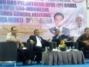 Diskusi panel dengan tema 'Kontribusi Media Masa, Perlindungan Pers dan Pembangunan Daerah pada pengukuhan pengurus DPW IMO-Indonesia dan HPI Provinsi Bangka Belitung - foto: Istimewa
