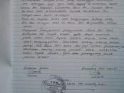Sebagian penjelasan/pernyataan tertulis yang disampaikan Kepala SMK Nurussalaf Kemiri - foto: Sujono/Koranjuri.com