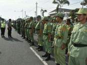 Gelar pasukan  gabungan, dalam rangka pengamanan pilkades serentak di Kabupaten Purworejo, Selasa (29/1) - foto: Sujono/Koranjuri.com