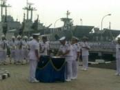 Panglima Komando Armada I (Pangkoarmada I) Laksamana Muda TNI Yudo Margono memimpin upacara serah terima jabatan sejumlah perwira - foto: Istimewa